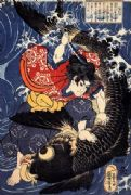 Vintage Japanese poster - Samurai warrior battling Fish monster